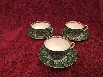 3 Cabbage Leaf & Butterfly Famille Verte Cups & Saucers-Made In China -Porcelain