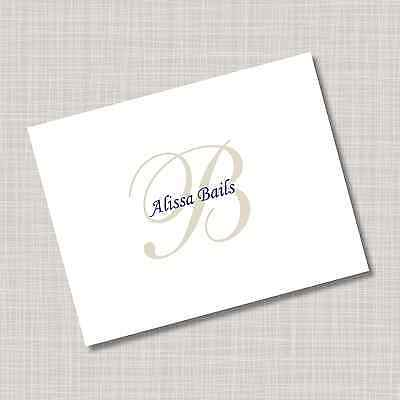 12 Custom Personalized Blue & Tan Monogram Name Note Cards & Envelopes
