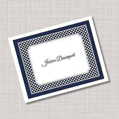 12 Custom Personalized Navy Blue Tiny Dots Note Cards & Envelopes