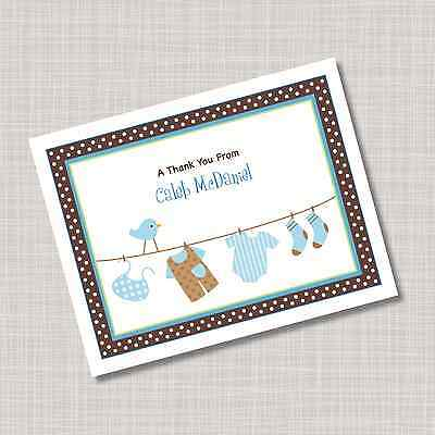 12 Custom Personalized Blue Baby Clothes Thank You Note Cards