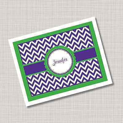 12 Custom Personalized Purple & Green Chevron Note Cards