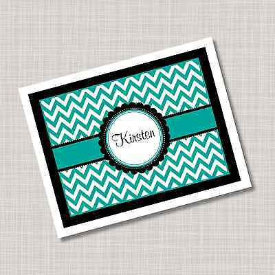 12 Custom Personalized Turquoise & Black Chevron Note Cards