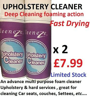 Kleeneze Car Seat, Upholstery -  Dry Foam Deep Cleaner 2 X 400ml Fast Drying