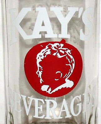 Vintage soda pop bottle KAYS BEVERAGES picturing a baby 1949 Victoria Texas Rare