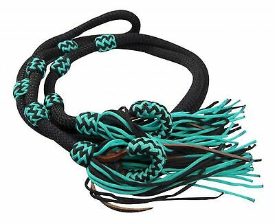 Showman TEAL/BLACK 8' Braided Nylon Western Barrel Rein W/ Fringe! HORSE TACK!