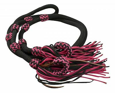 Showman PINK/BLACK 8' Braided Nylon Western Barrel Rein W/ Fringe! HORSE TACK!