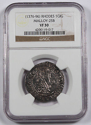 Greece 1376-96 Gigliato Coin VF30 NGC Order of St. John at Rhodes MALLOY-25B