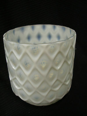 Unusual Antique Northwood Quilted Art Glass Planter Vase Opalescent White 5""