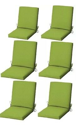 Green Patio Chair Cushion Set of 6 Green Outdoor Cushions Thick Pads usa