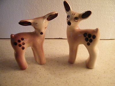 Set of 2 Vintage Ceramic Christmas Reindeers One Has Closed Eyes and One Opened