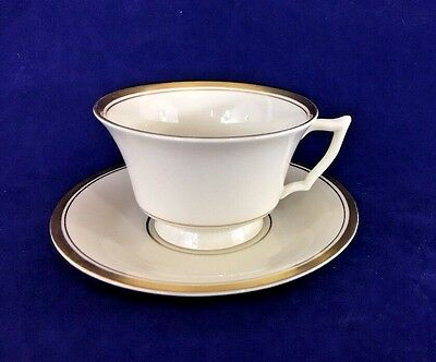 Syracuse China Monticello Old Ivory Footed Demitasse Cup & Saucer Made USA