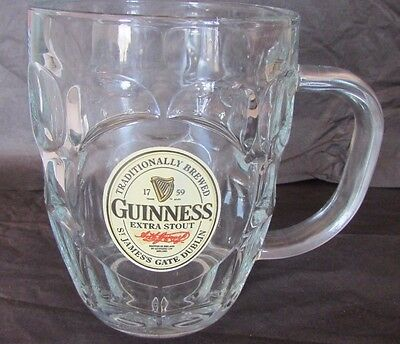 """Guinness Extra Stout St. James Gate Dublin Ireland Dimpled 5"""" Clear  Beer Mug"""