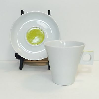 Nescafe Dolce Gusto White Cappuccino Cup Saucer Set Lime Green