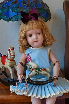 """Antique  Schoenhut Jointed Wood Character Doll 19 """" tall ."""