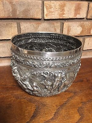 Rare Antique Old Sterling Silver Burmese Anglo Indian 1800's Repousse Bowl 36 Oz