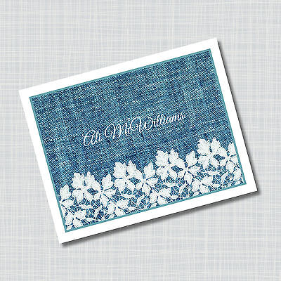 12 Custom Personalized Denim & Lace Note Cards
