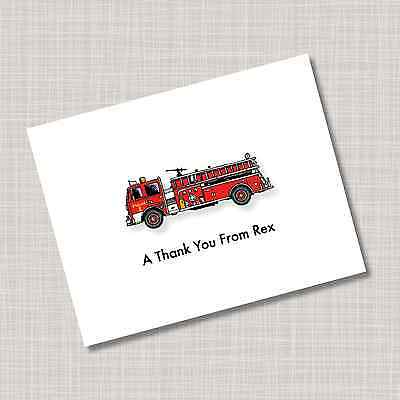 12 Custom Personalized Fire Truck Note Cards
