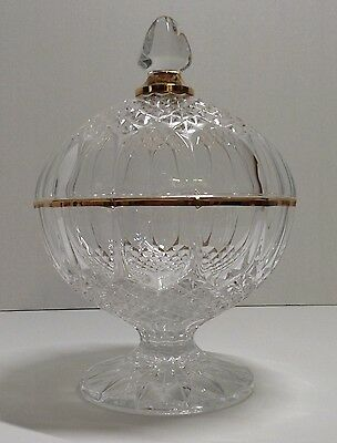 """Vintage Kemple Hobstar Clear Glass Candy Dish Gold Gild Trim 9""""T"""