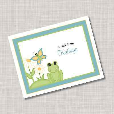 12 Custom Personalized Frog & Butterfly Note Cards