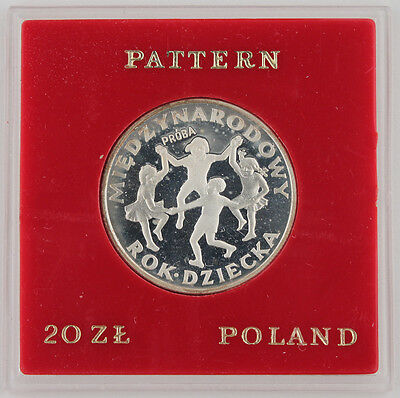 1979 POLAND PROBA 20 Zlotych Year of Child Proof Silver Coin in Pattern CASE