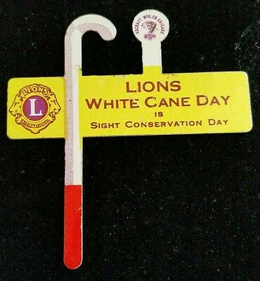Pin Tab Back  Lions White Cane Day Is Sight Conservation Day  Lions Club