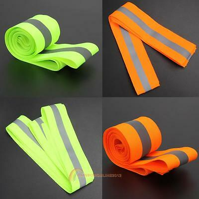 "Unisex Reflective Lime Green Gray Tape Sew On 2"" Trim Fabric Material 10 Feet"