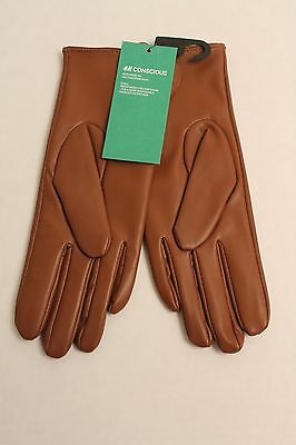 NWT Women H&M Brown Leather Winter Gloves Size Small