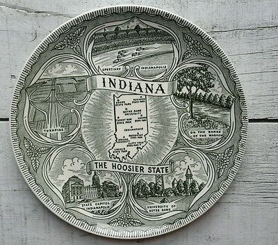 "Vintage Indiana "" THE HOOSIER STATE 9.5"" Souvenir Plate Notre Dame/Indianapolis"