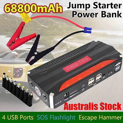 AU 68800mAh Vehicle Car 12V Jump Starter Booster Battery Power Bank 4USB Charger