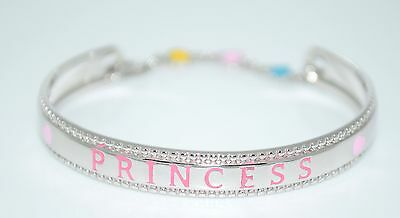 Sterling Silver 925 Baby Id Bangle Bracelet With Lock & Princess Pink Engraving