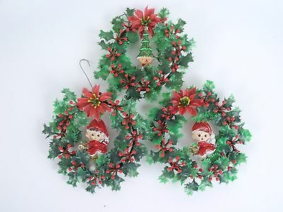 Vintage Wreaths With Elves & Tree Christmas Ornaments Holiday Decoration