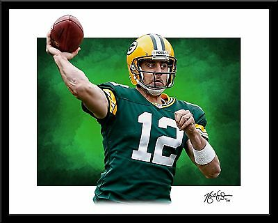 Aaron Rodgers signed print #4/10 Green Bay Packers Rare!