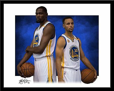 Stephen Curry and Kevin Durant signed print #6/10 Golden State Warriors Rare!