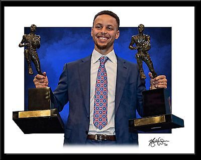 Stephen Curry signed print #9/10 Golden State Warriors Rare! NEW MVP
