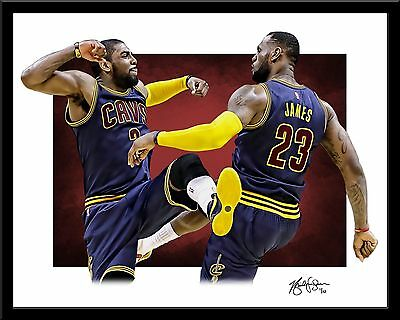 LEBRON JAMES and KYRIE IRVING signed print #10/10 Cleveland Cavaliers! RIO
