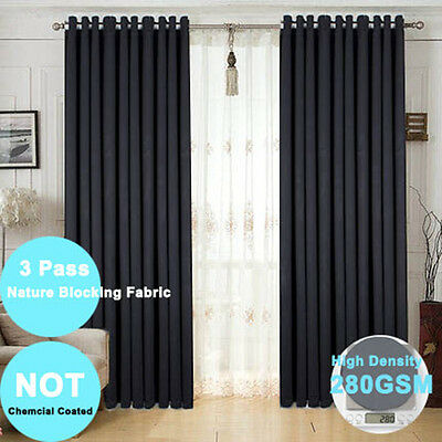 Black 100% Blockout Curtains Eyelet Blackout Room Thermal Insulated -2X140X230CM