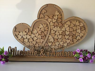 Double Heart Drop Box With Names On Stand- Guest Book Wedding-Personalised