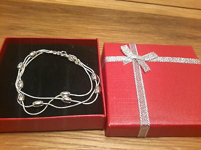 Brand new 925 stamped beaded Bracelet with Gift box