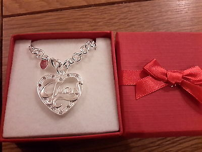 Brand new 925 stamped silver chunky Necklace with a heart shaped charm gift box