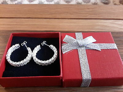 Brand new Silver 925 stamped small  textured hoop earrings and gift box