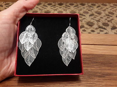 Brand new 925 stamped Silver leaves earrings and gift box