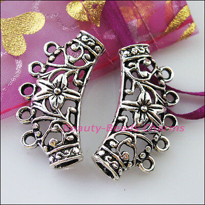 3 Charms Flower Spacer Beads Bail Fit Bracelets Connector 20x38mm Tibetan Silver