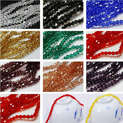 Lots Faceted Bicone Crystal Clear Glass Loose Spacer Beads Charm Finding 4/6/8MM
