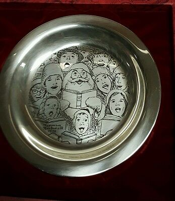 Franklin Mint 1972 Carolers Christmas Plate - Sterling Silver Norman Rockwell
