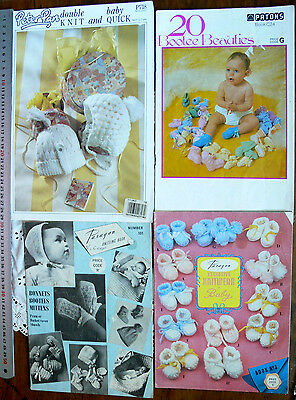 BABY Knitting & Crochet BOOTIES & BONNETS 3, 4 & 8 Ply Multi List 4 Books B18