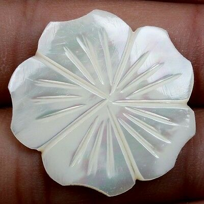 28x28 mm Natural White MOTHER OF PEARL Carving Flower Flat Gemstone 14 Cts eBay