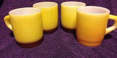 Set of 4 Fire King Anchor Hocking Coffee Mugs Yellow with Ribbed Base D Handle
