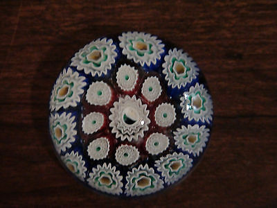 Small vintage red white blue green & yellow milifiore paperweight