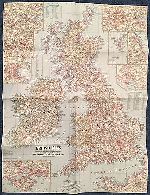 National Geographic MAP of The BRITISH ISLES July 1958 MINT United Kingdom