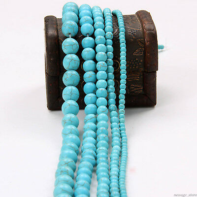 Natural Round Turquoise Gemstone Spacer Loose Beads Charms Necklace Making DIY